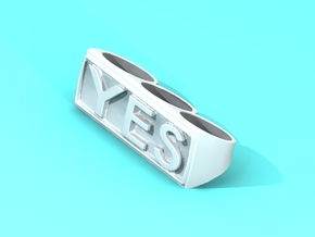 "Three finger rings ""YES"" in White Natural Versatile Plastic"