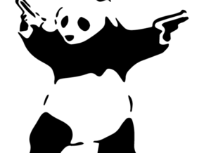 Panda Stencil - BANKSY in White Strong & Flexible