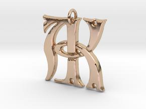 Monogram Initials AK Pendant  in 14k Rose Gold