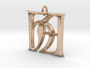 Monogram Initials HA Pendant  in 14k Rose Gold
