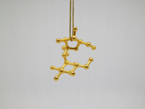 Sucrose (Sugar) Molecule Necklace Keychain in Polished Gold Steel