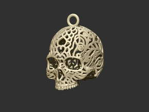 Filagree Skull P4 Ornament- 4.5cm Top in White Natural Versatile Plastic