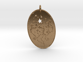 Shooting Stars 1 Pendant by Gabrielle in Natural Brass