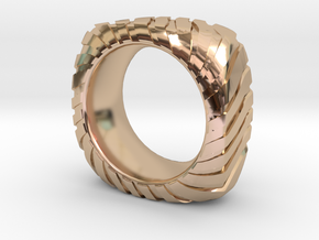 PILLOW CARVED OUTER RING  WIDE in 14k Rose Gold Plated Brass: 9 / 59