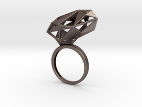 The Matrix Ring in Polished Bronzed Silver Steel: 6.5 / 52.75