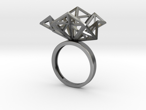 Geometric Jungle Ring in Polished Silver: 5 / 49