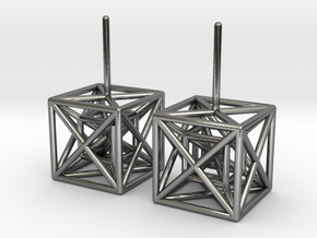 HyperCube Stud Earrings in Polished Silver