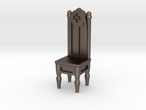 Gothic Straight Backed Chair  in Polished Bronzed Silver Steel