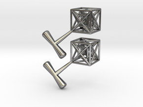 Hypercube Cuff Links in Polished Silver