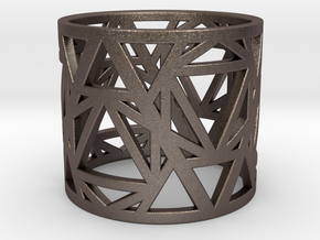 Zero Point Geometry Ring in Polished Bronzed Silver Steel: 6 / 51.5