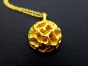 Fossil Acritarch Cymatiosphaera Pendant in Polished Gold Steel