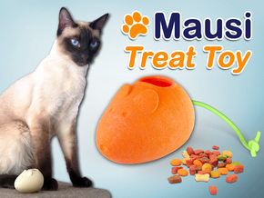 Mausi - Treat Dispenser for Cats in White Natural Versatile Plastic
