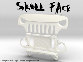 AJ30006 Skull Face Grill & Mount in White Strong & Flexible Polished