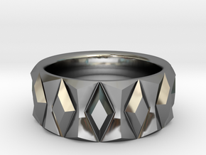 Diamond Ring V2 - Curved in Fine Detail Polished Silver
