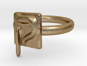 19 Qof Ring in Polished Gold Steel: 7 / 54