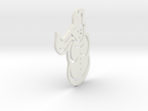 Snowman Pendant in White Natural Versatile Plastic