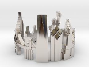 New York Skyline - Cityscape Ring in Platinum: 8 / 56.75