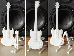 Foldable guitar stand, in the scale 1:6 in White Strong & Flexible Polished