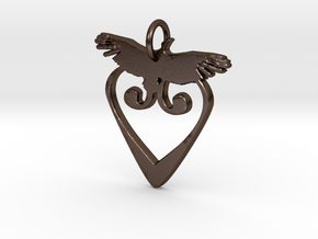 Peace Dove Pendant in Polished Bronze Steel