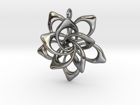 Petal Rings 5 Points - 2 Tiers - 4cm - wLoopet in Fine Detail Polished Silver
