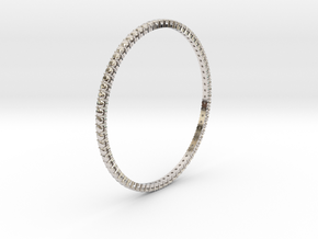 "Bangle simple ""diamonds"" in Rhodium Plated Brass"