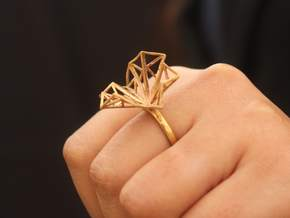 Geometric Jungle Ring in Polished Brass: 6 / 51.5