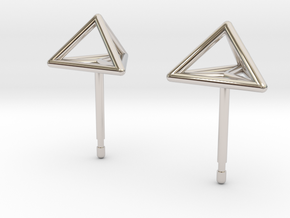 Triangle Stud Earrings in Rhodium Plated Brass