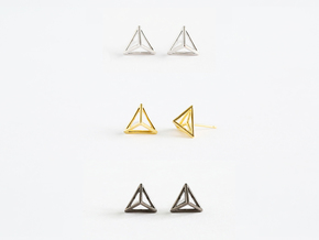 Triangle Stud Earrings in Polished Silver