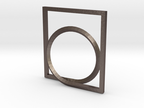 Rectangle and Circle ring in Polished Bronzed Silver Steel: 4 / 46.5