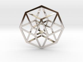 "Tesseract Pendant 1"" in Rhodium Plated Brass"