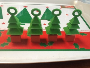 3d  Xmas Tree Tree Decoration Set Of 4 Smaller in Full Color Sandstone