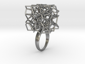 Voronoi Cube Ring (Size 7) in Natural Silver