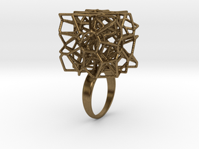 Voronoi Cube Ring (Size 7) in Natural Bronze