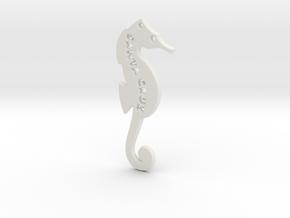 Santa Cruz Seahorse Pendant in White Natural Versatile Plastic