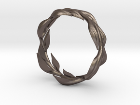 Vine Band, Size 9 in Polished Bronzed Silver Steel