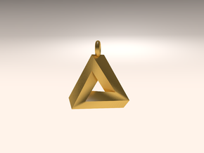 Penrose Triangle - Pendant (3cm | 3.5mm O-Ring) in Matte Gold Steel