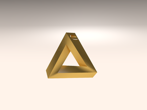 Penrose Triangle - Pendant (3.5cm | 3.5mm hole) in Matte Gold Steel