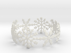 Snowflake Bangle (medium) in White Natural Versatile Plastic: Medium