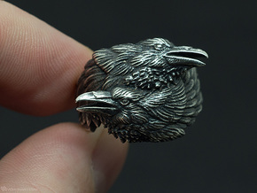 Two Ravens Ring in Polished Silver: 11.5 / 65.25