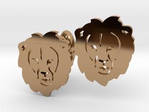 Lion Cufflinks in Polished Brass