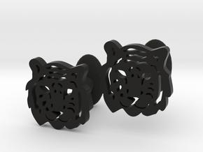 Tiger Cufflinks in Black Natural Versatile Plastic