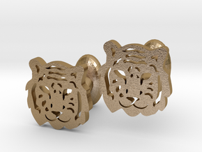 Tiger Cufflinks in Polished Gold Steel