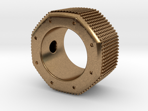 octagon ring with squares Ø16mm in Natural Brass