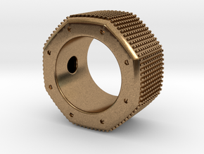 octagon ring with squares Ø16,5mm in Natural Brass