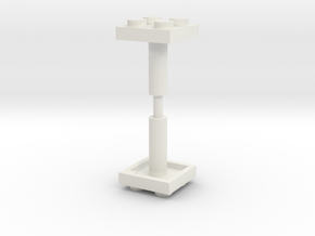 2x2 Building Toy Plate with 5mm Shaft/Handle in White Natural Versatile Plastic