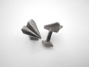 Paper Airplane Cufflinks  in Polished Nickel Steel
