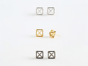 Square Stud Earrings in Polished Silver