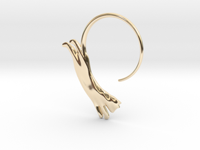 leaping cat earring small in 14K Yellow Gold: Large