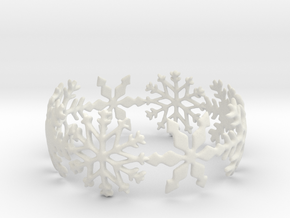 Snowflake Bangle (small) in White Natural Versatile Plastic: Small