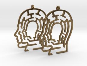 Head Maze Earrings in Polished Bronze